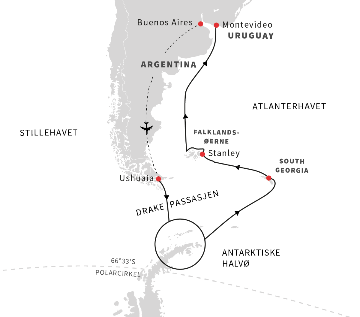 Antarktis, South Georgia, Falklandsøerne